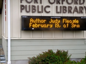 Reader board at Port Orford Public Library