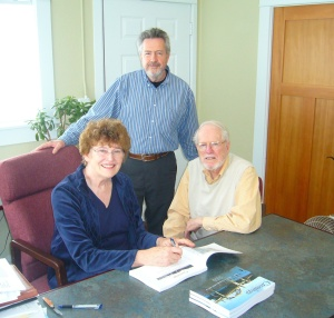 Here I am with publisher Bob Serra and researcher Dick Smith, who was willing to handle the financial end of things.