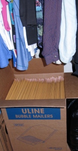 Large box of 100 bubble envelopes is now sharing space in my closet with my clothes.