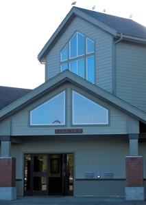 The Bandon Public Library. Notice the gulls on the roof.