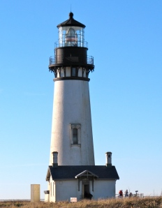 At 93-feet tall, it's the tallest lighthouse on the coast. It's on a point of land that juts out into the ocean--north of Newport.