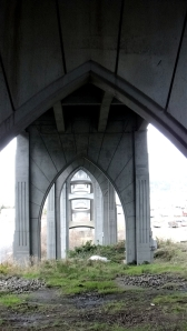 A view through the Gothic arches of the McCullough Memorial Bridge.