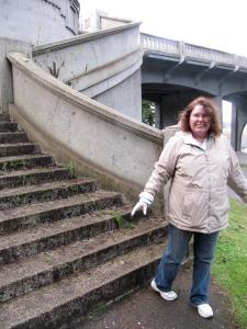 Barbara Baker at the end of our bridge tour at the McCullough Memorial Bridge.