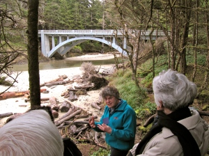 Here I'm giving my spiel on the Cummins Creek Bridge on the bridge tour.