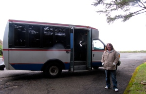 Barbara Baker, in charge of the Outward Venture programs, and the 14-passenger bus.
