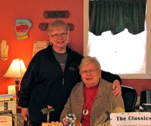 Mary & Mari at Mari's Books in Yachats.