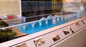Here is a model of the historic Alsea Bay Bridge. Note the historic photos, showing its construction in 1936.