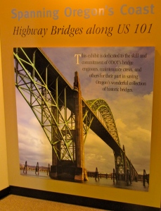 This large wall-size photo of the Yaquina Bay Bridge is in the Historic Alsea Bay Bridge Interpretive Center.
