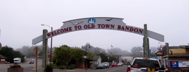 Old Town in Bandon in the fog.