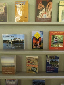 Crossings on display in the Cape Perpetua Visitor Center gift shop.