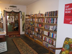 The entry way to Time Enough Books in Ilwaco, Washington.