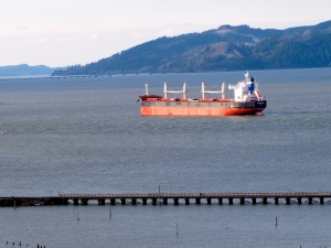 Here is a tanker anchored on the Columbia, which was part of the view from my room.