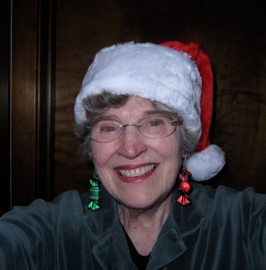 I got in the Christmas spirit and wore my Santa cap and Christmas present earrings.