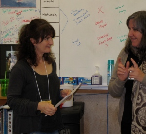 Melissa Hart (left) was the Keynote Speaker and, as seen here, also taught a workshop on writing memoir.