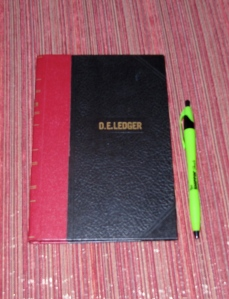 This little ledger has all my bookkeeping info for my freelance writing/editing business and since 2012, it also has the bookkeeping info for Crossings.