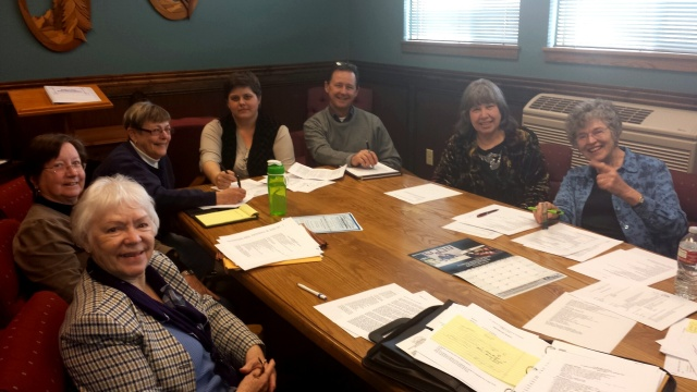 Here is the FFOB Planning Committee: Connie Bradley, Shelley Taylor, Maire Testa, Meg Spenser, Kevin Rhodes, Ellen Traylor, and me.