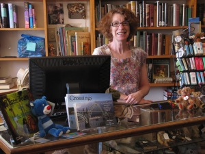 Sue Foster at Books 'N' Bears does a fabulous job of selling my books. Notice the books in front of the cash register. Also, she looks across at the Siuslaw River Bridge.