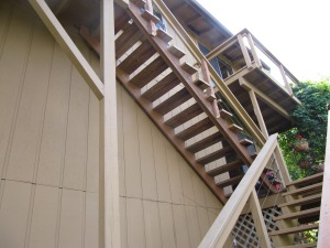 The upper stair supports are new and so are a couple of the posts. The actual steps were not replaced.