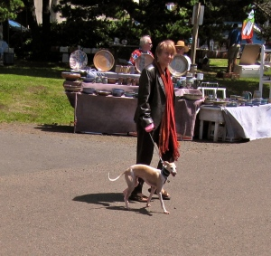 This miniature Italian greyhound was one of the most distinctive dogs I saw.