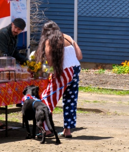 Typical of Yachats––quirky Fourth of July costume and with dog.
