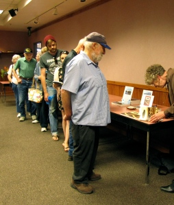 How terrific! Folks are lined up to buy books and have them signed!