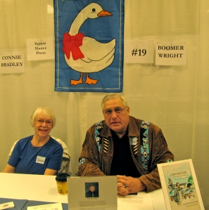 Co-chair, author, and publisher Connie Bradley with author Boomer Wright.