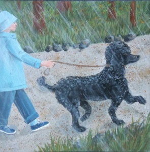Here is another illustration from the book, showing Asa walking––prancing––in the rain. Loving every moment!