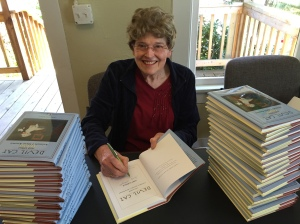 Here I'm signing first copies of Devil Cat at Pacific Publishing office.