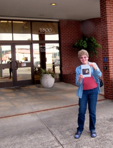 Here I am with Devil Cat in front of the North Bend Library.