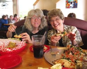 Evelyn and I enjoying pizza.