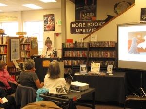 Judy at the podium.