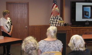 Kevin introduced me to the audience at my Devil Cat presentation at the library, which was a fundraiser for the FAHS..