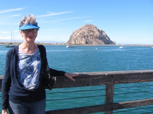 Edna with Morro Rock in the background. This is just a few feet from where we had a great seafood lunch.