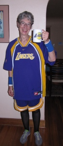 Edna became a Laker's basketball player for the Halloween party.