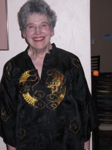 Here I am in my mom's Chinese silk pajamas that my dad gave her about 78 years ago.