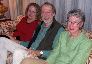 The rest of the family--Jayne (Harry's wife), Harry, and Edna waiting to open . . .